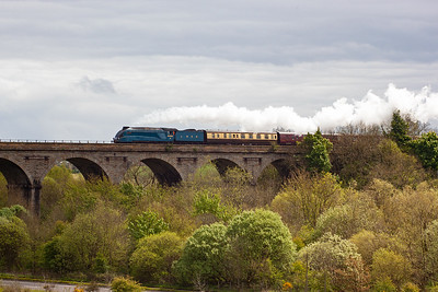 The main event and The Cathedrals Explorer railtour crosses Markinch Viaduct behind another ex LNER loco, A4 pacific 4464 Bittern.