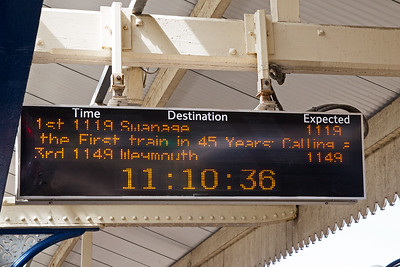 The scrolling caption on the train description board at Wareham.
