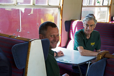 Another dear friend from school and founder volunteer Pete Duncalfe with carriage restorer and founder volunteer Pete......it'll come to me.....Short, Pete Short sitting opposite.