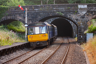 Turning round and 142033 departs Grindleford station and is about to dive into the 3 mile, 950 yard long Totley Tunnel on its way to Sheffield, 0845 off Manchester Piccadilly, 2S10.