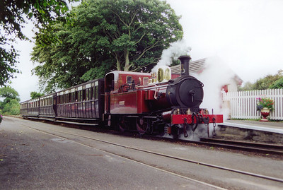 No 11 Maitland pauses at Ballasalla with the 1410 Douglas to Port Erin. It will cross a Douglas bound train here.