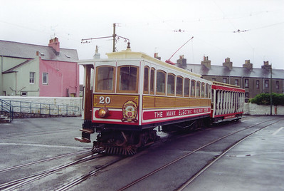 After the sun at Douglas in the morning, the day at Ramsey in the late afternoon was cold and wet. No 20 and trailer 44 waits for its 1630 departure time for Douglas.  21/7/1999