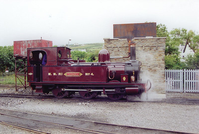 Between trains, No 4 is watered and the fire cleaned on its home shed of Port Erin.