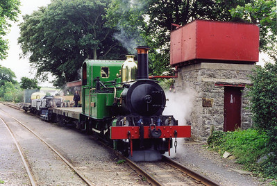 At Ballasalla, the water tower sees use for the second time in two days. The loco is using the boiler from No 8 Fenella. No 1 was the first loco for the line built in 1873.