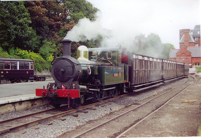 "The 1050 Douglas departure for Port Erin is rostered to No 10 G.H. Wood.  This Manx Peacock was built in 1905 and was the first to be built with a ""medium boiler""."