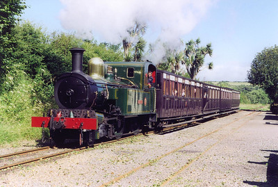 In beautiful warm sunlight, No 10 runs through the loop at Santon with the 1555 Douglas to Port Erin. The line is climbing at 1 in 240 here.