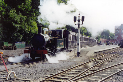 Steam blasts from the drain cocks as No 10 departs in fine style. A great last shot before going for the ferry back to the mainland.  A fantastic week and we decided we must go back.  24/7/1999