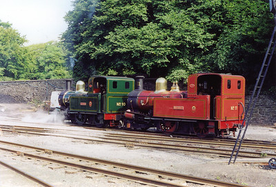 The two Douglas locos come off shed with No 10 pushing No 11. No 10 will take out the first train.  24/7/1999