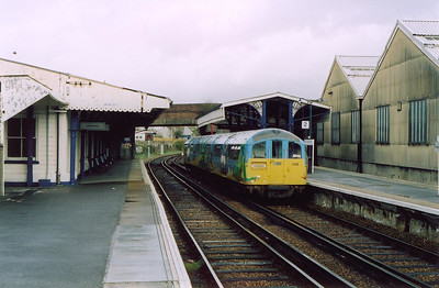 The main station on the 8 1/4 mile line and the engineering base is at Ryde St John's. 006 pauses with 1508 from Ryde Pier Head. The buildings on the right are the maintenance sheds