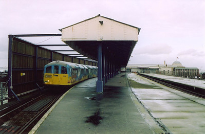 The end of the line and Pier Head station and 006 is afforded some form of protection from the elements. It will depart at 1808 back to Shanklin.