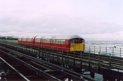 This shot was taken two days later and unit 009 is in traffic and runs for dry land with the 1745 from Pier Head station.  7/4/2004