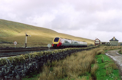 The doyen of the Voyager fleet passes Blea Moor signalbox with a cross country service to the Western Region. 1V57 is the 0923 Edinburgh to Plymouth. The semaphore signal on the left is an up starter off the down road for wrong line working.