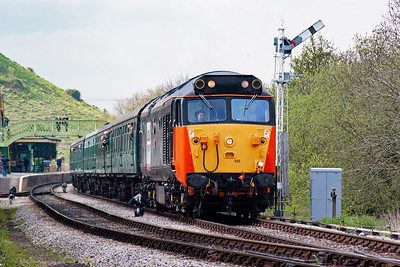 Graham Froud sits in the secondman's seat as 50135 working 2S17 1510 Norden to Swanage passes the down starter which is located almost at the end of the down loop.