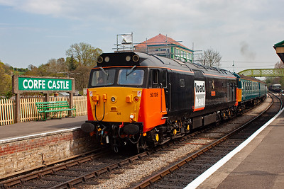 50135 wears the unauthentic Loadhaul freight livery, the number however IS authentic as the loco did run in BR service as 50135 for a while but in BR blue.