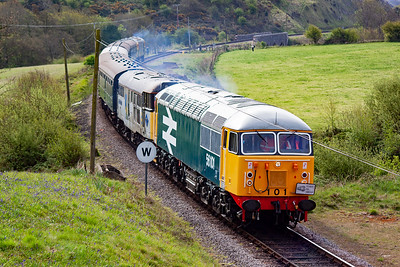The class 56 loco is a first for Swanage and is air braked only so will always require a dual braked translator loco when on the vacuum braked stock.