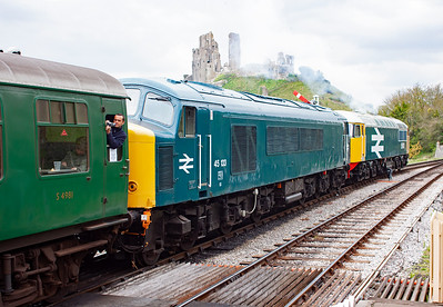 The driver of 56101 opens his charge and the Ruston Paxman 16RK3CT 3,250hp powerplant puts out the clag as the train of five mkI coaches and an idling Peak departs.