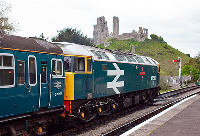 As 47580 stands at Corfe's up starter, the ruins of the castle dominate the background. Surely the most dramatic backdrop for a preserved railway anywhere.