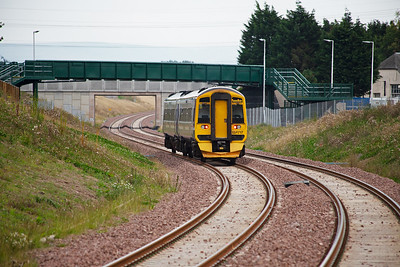 The gradient change ahead is clearly visible.  The line opened to passengers just three days previously and this day, 9th September 2015, was the official opening with HM The Queen being conveyed to Tweedbank by John Cameron's A4 60009 Union of South Africa.