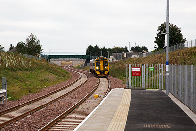 The Borders Railway is the new name for the old Waverley Route which was rebuilt from Edinburgh to a new terminus at Tweedbank just south of Galashiels.  This is Shawfair south of Edinburgh and is a new station built on a new section of track.  9/9/2015