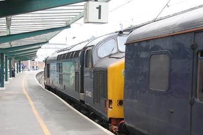 37 402 on 2C34 (1433 CAR to  BIF) leaving Platform 1 Carlisle 25 July 2015