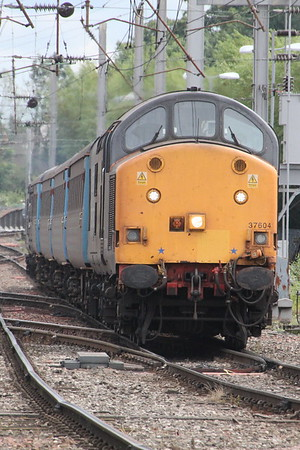 37 604 on 2C45 (1138 BIF to CAR) arriving at Carlisle. Carlisle 25 July 2015