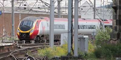 Pendolino 390 042 on 9S55 (0943 EUS to GLC) arriving at Carlisle. Carlisle 25 July 2015