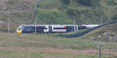 Pendolino 390153 working 1S52 (1010 London to Glasgow) at Shap Wells 9 July 2021