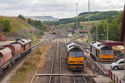 60094 pushes its train into the RMC sidings whilst 60500 has the road away from Peak Forest over the crossover at the signalbox and down to Great Rocks.