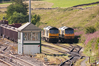 In the sidings behind the signal box are 60015 and 60063 between duties.