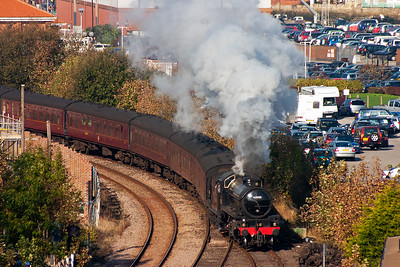 On arrival at Whitby the passengers have left the train so it can go into the loop to allow 61994 to run round.