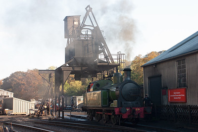 On shed and former Lambton Colliery 0-6-2T No 29 stands below the coaling tower.