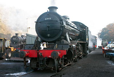Grosmont shed, North Yorkshire Moors Railway and John Cameron's K4 61994 The Great Marquess raises steam before a day on the line between Whitby and Pickering. 20/10/07