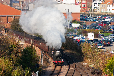 Running some 40 minutes late, 61994 and 62005 recreate the Whitby Moors Railtour as they blast away from the town with 1Z43 1415 Whitby to Pickering.
