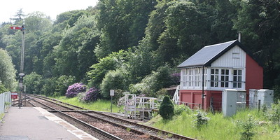 Dunkeld signalbox and southbound starting signal.