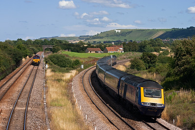 Sure enough, 43150 rips round the curve off the avoiding line leading 1C86 1405 Paddington to Penzance.