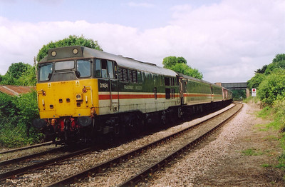 The Bristol bound train gathers speed as it departs Maiden Newton.  This was the junction station for the branch to Bridport and West Bay which closed  on 22/9/1930 with Bridport hanging on until 5/5/1975.  13/7/2004