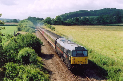 The morning sun was wonderful and 31128 powers up as the train heads south.  Both locos are working as the train is through wired for loco control.  13/7/2004