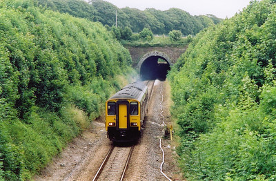 150238 passes the gradient board indicating a change of gradient from 1 in 108 to 1 in 554 in the direction of travel. The 651 yard long Grimstone and Frampton Tunnel is in the background. The set forms 2V79 1258 off Weymouth to Bristol.  12/7/2004