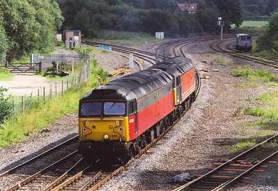 A pair of class 47's clatter over the pointwork of Whitacre Junction as they head west towards Birmingham. 47635 is in RES livery with 47818 in Virgin colours.