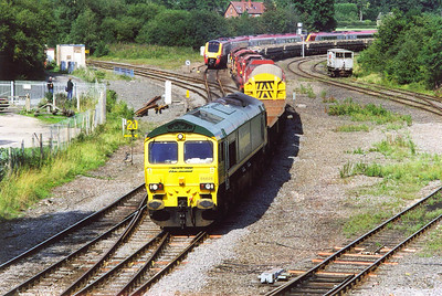 66606 leads a west bound engineers train off the Nuneaton line.