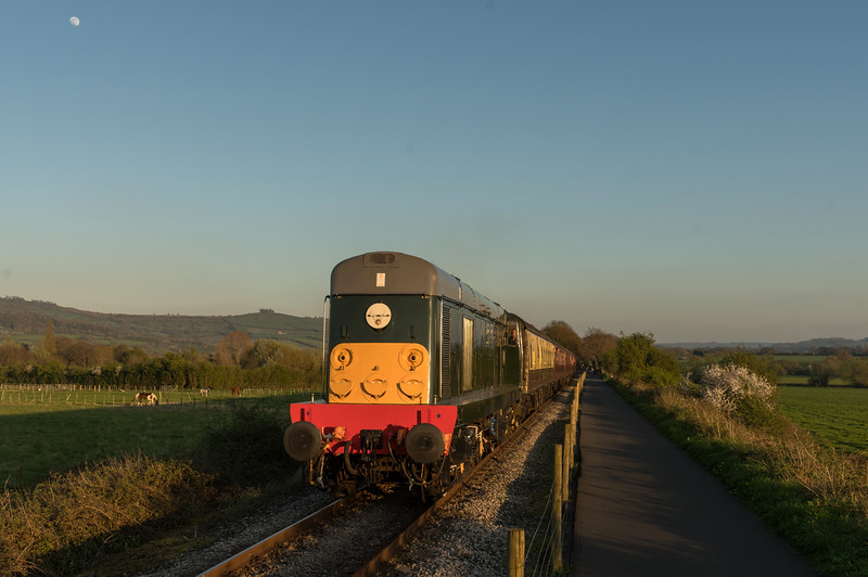 20059 (d8059) in sunset up Riverside bank on the 'beer-ex' during Avon Valley Railway's Diesel gala 8/4/17