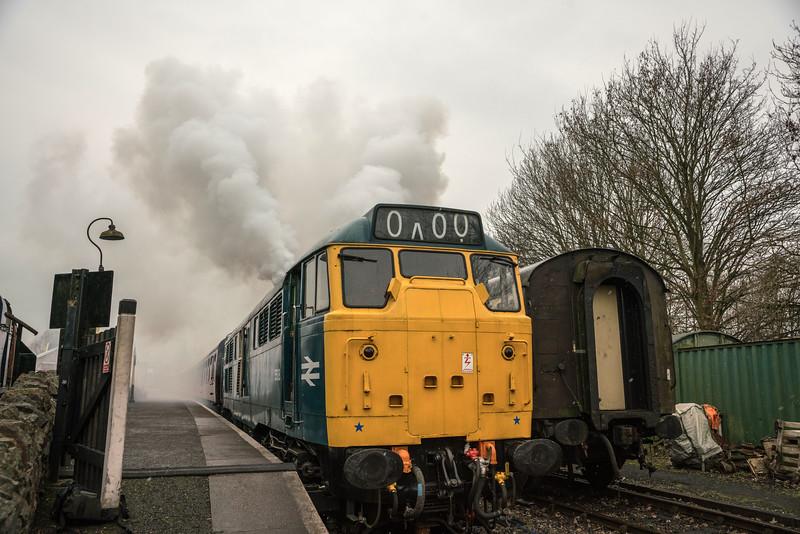 31101 cold start up, Avon Valley Railway 11/2/17