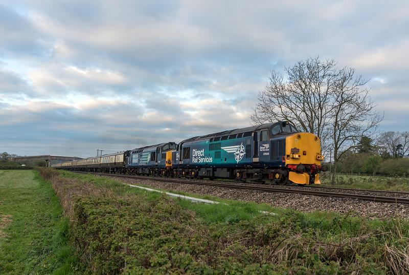 37609+37259 on 'The Spring Highlander' at Langley Burrell 14/4/17