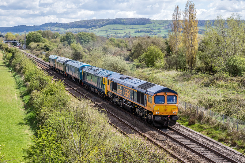 66757+50035+D182+D213+5580 on 0z69 Kidderminster - St Philips Marsh at Cam & Dursley 30/4/16