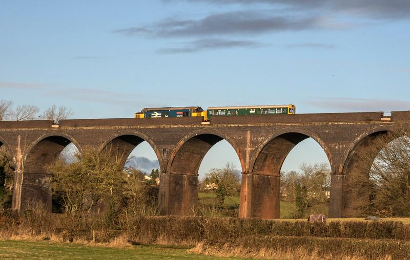 Caroline and 37402 over Huckford Viaduct, 14/1/17