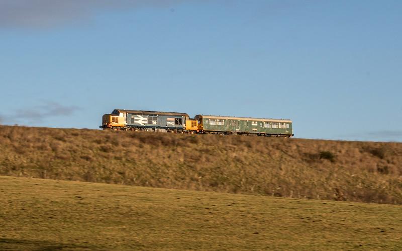 Caroline and 37402 past Winterbourne, 14/1/17