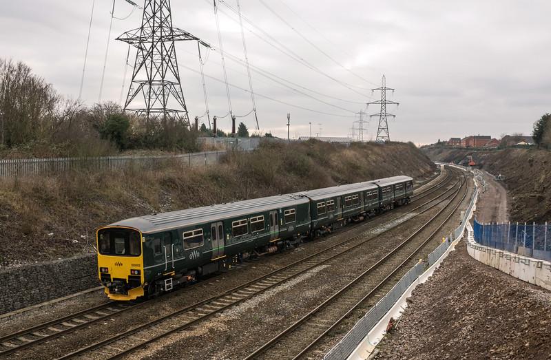 GWR 150002 south past Filton 18/1/17