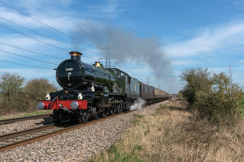 5043 'Earl of Mount Edgcumbe' past Mathern, near Chepstow  heading to Hereford 25/3/17