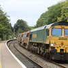 66610 6Y20 Crewe Basford Hall - Severn Tunnel whips through Abergavenny station 15 loaded autoballasters 22.09.13