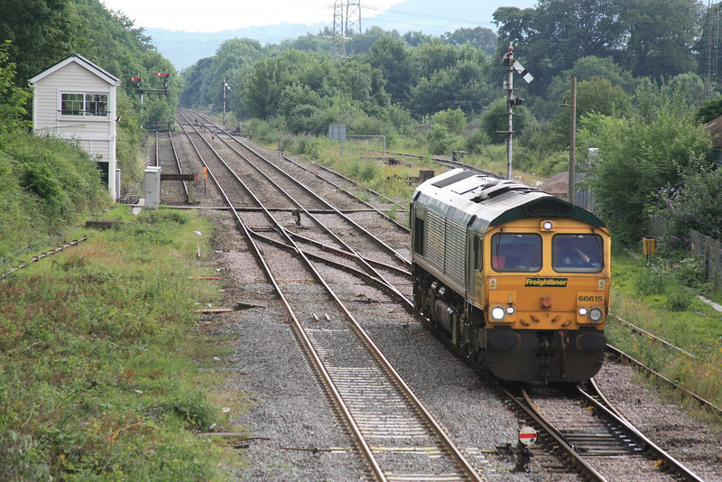 66615 passes Abergavenny Signal Box working 0Z25 Cardiff Canton - Crewe Basford Hall 09.07.12